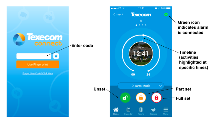 Texecom Connect App home screen