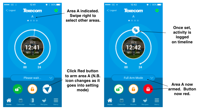 Arming your Texecom Smart alarm