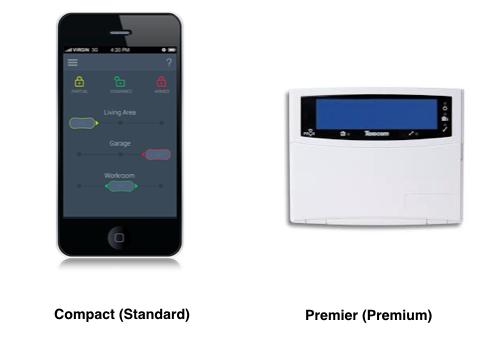 Compact vs Premier burglar alarm system